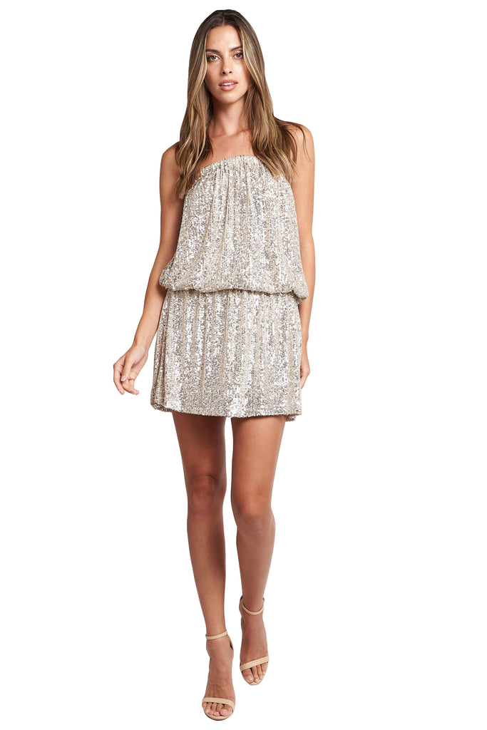 ELEANOR CHAMPAGNE SEQUINS DRESS