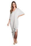 Meghan Heather Grey Open Slit Maxi Dress