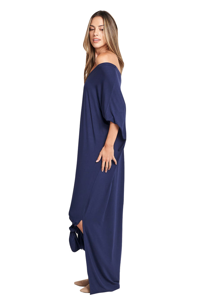 Meghan Navy Open Slit Maxi Dress