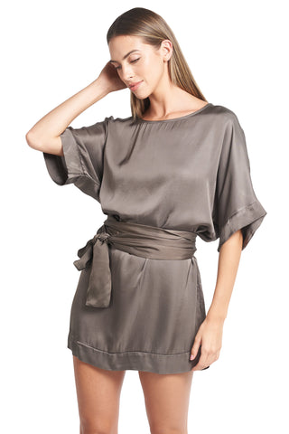 CARMELA LATTE SATIN TUNIC