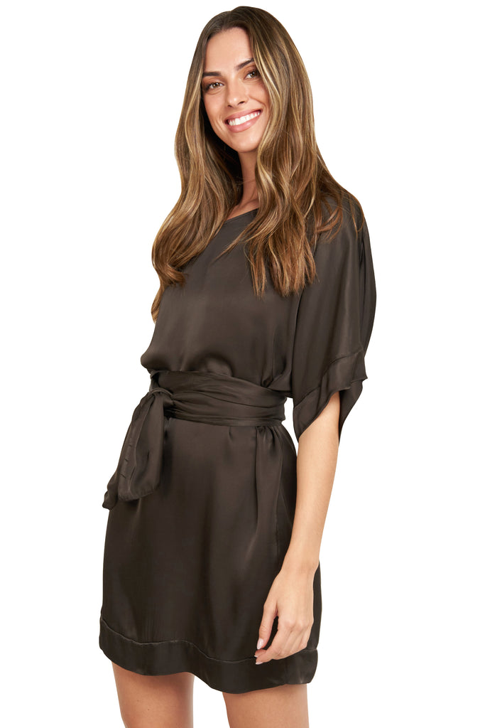CARMELA CHOCOLATE SATIN TUNIC