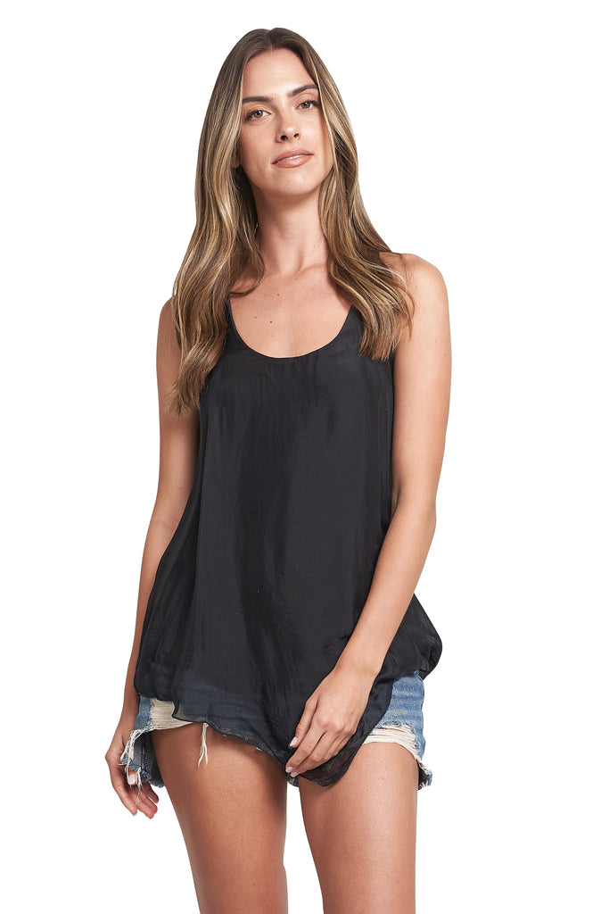 ELLE RACER BACK TANK TOP BLACK