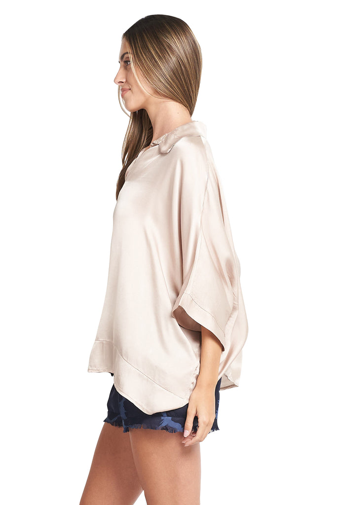 MARIA BLUSH SATIN TOP