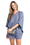 LIDIA FRENCH BLUE BOHO TOP