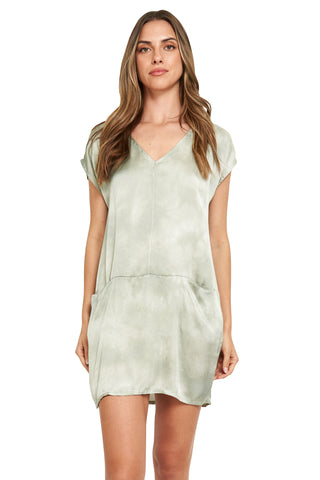 FRIDA MILITARY TIE DYE SATIN TUNIC