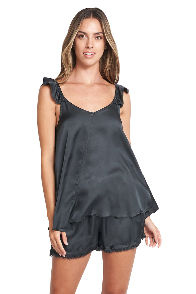 SONIA SATIN CHARCOAL TOP