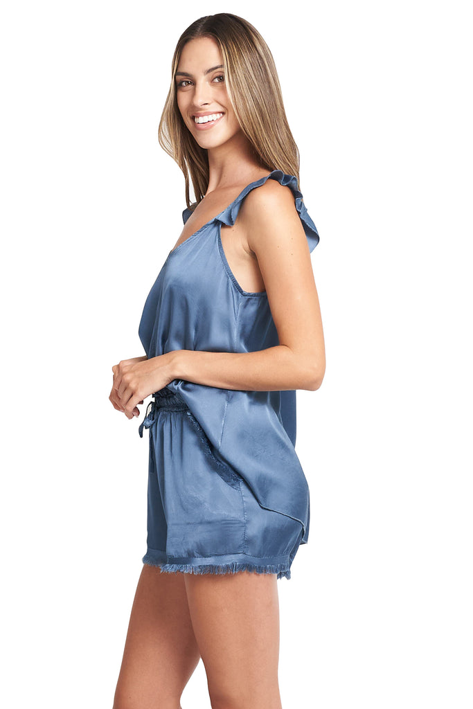 SONIA SATIN FRENCH BLUE TOP