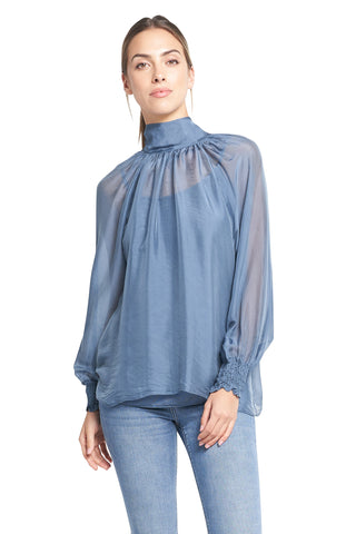 FATIMA FRENCH BLUE TOP