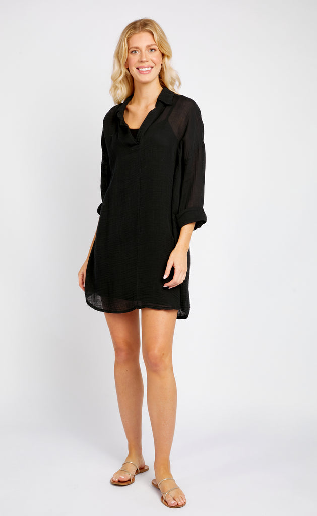 CAMPBELL BLACK GAUZE TUNIC