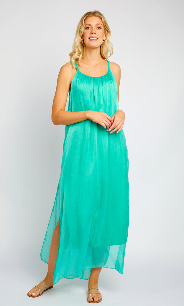 EVELYN TURQUOISE EMERALD OPEN SLITS MAXI DRESS