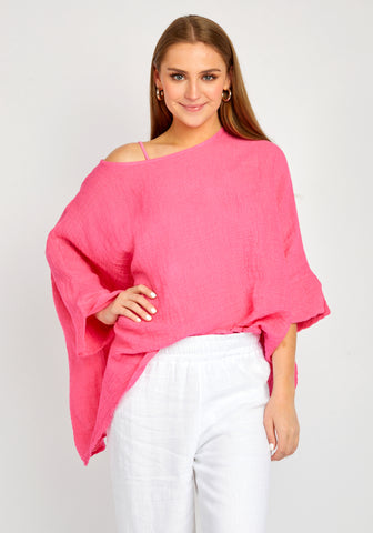 FLORENCE HOT PINK WASHED PULL OVER