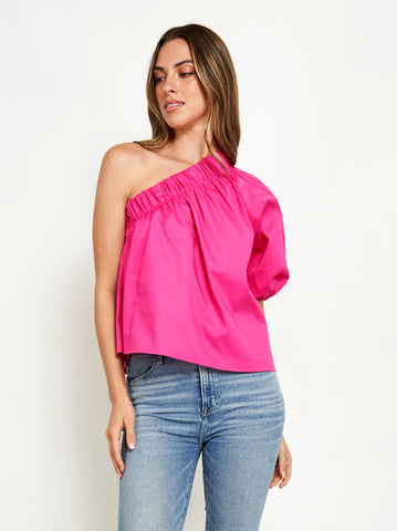 GALA ONE SHOULDER TOP IN FUCHSIA