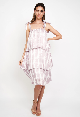 HARRIET LAYERED DRESS IN WHIE LILAC