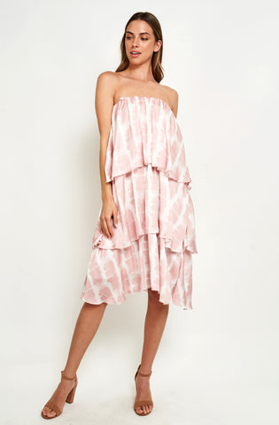 HARRIET LAYERED DRESS IN WHITE PINK