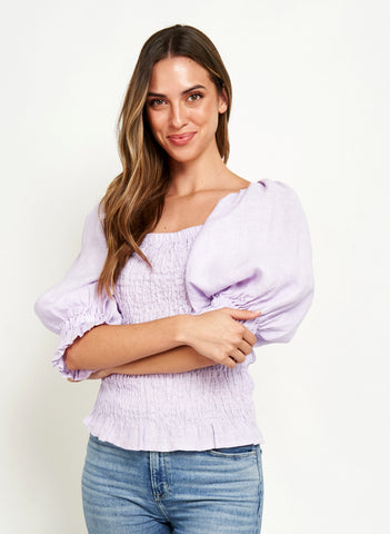 JAMINE PUFFY SLEEVES TOP IN LILAC