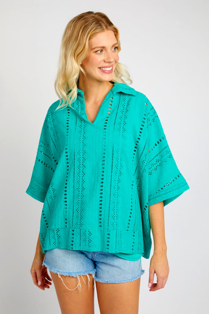 SUSAN EMERALD COTTON TOP