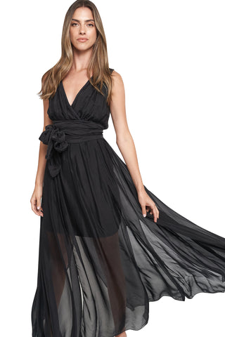 CAMILA BLACK OPEN SLIT MAXI DRESS