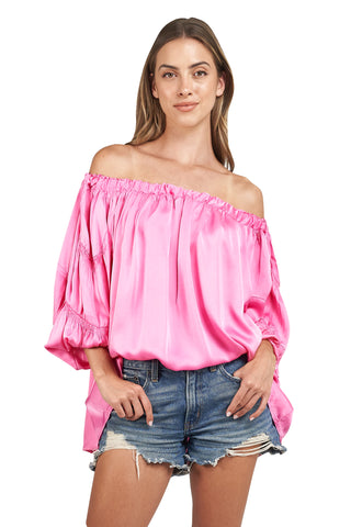 ANDY OFF THE SHOULDER HOT PINK TOP