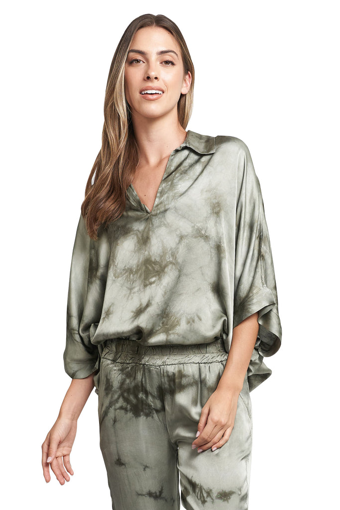 MARIA MILITARY TIE DYE SATIN TOP