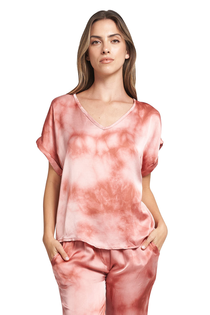 TESSA RED TIE DYE V-NECK TOP