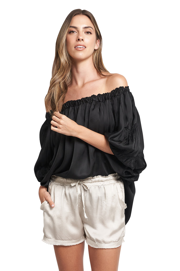 ANDY OFF THE SHOULDER BLACK TOP