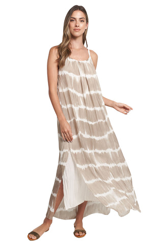 EVELYN BEIGE WHITE TIE DYE MAXI