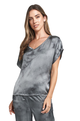 TESSA CHARCOAL TIE DYE V-NECK TOP