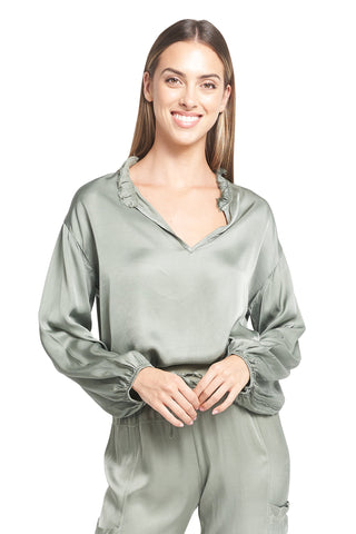 MORGAN MILITARY SATIN TOP