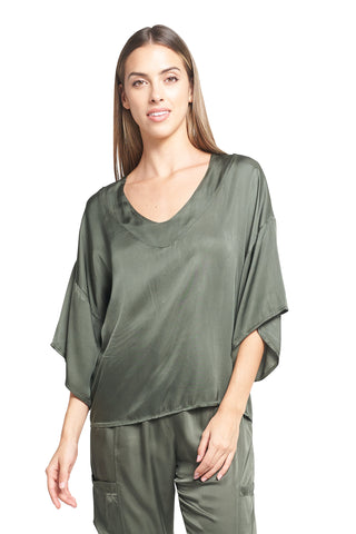 LARI OLIVE SATIN TOP