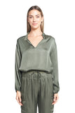 MORGAN OLIVE SATIN TOP