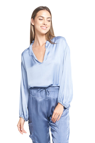 MORGAN FRENCH BLUE SATIN TOP