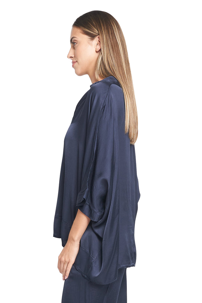 MARIA NAVY SATIN TOP
