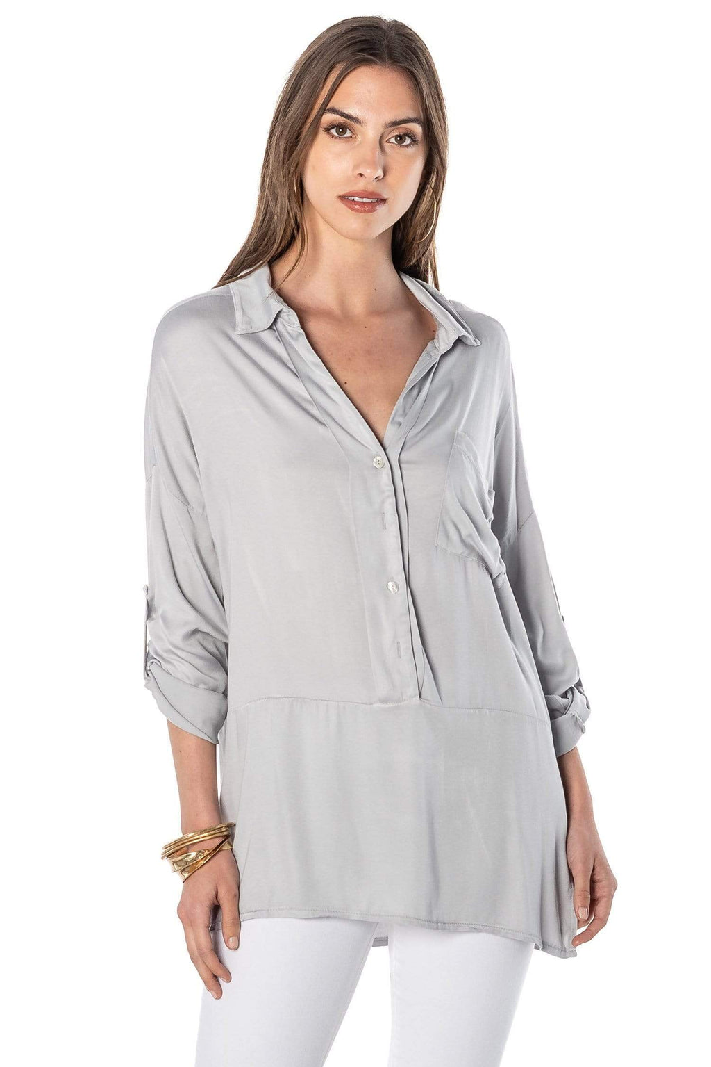 shop-sofia Aaliyah Silver Roll up/down Long Sleeve Top Sofia Collections Italian Silk Linen Satin