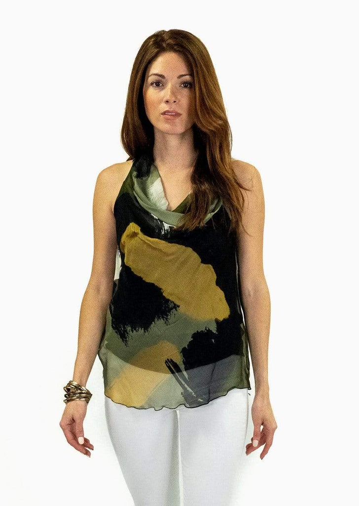 shop-sofia Alexa Military Cowl Neck  Tank Top  I Sofia Collections Sofia Collections Italian Silk Linen Satin