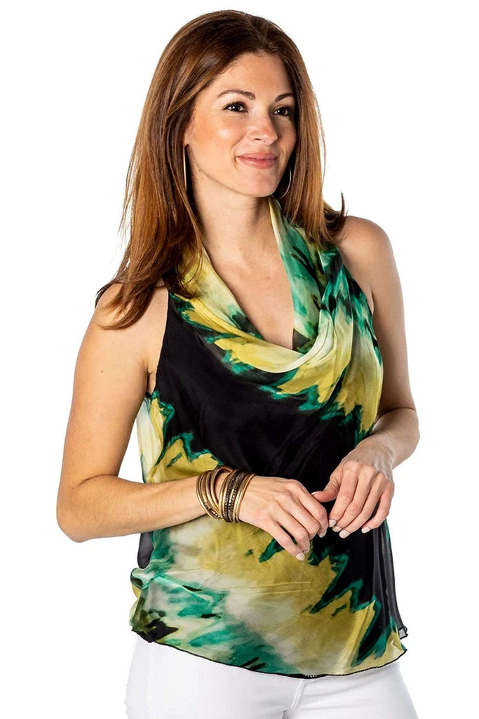 shop-sofia Small Alexa Watermark Cowl Neck Tank Top Sofia Collections Italian Silk Linen Satin