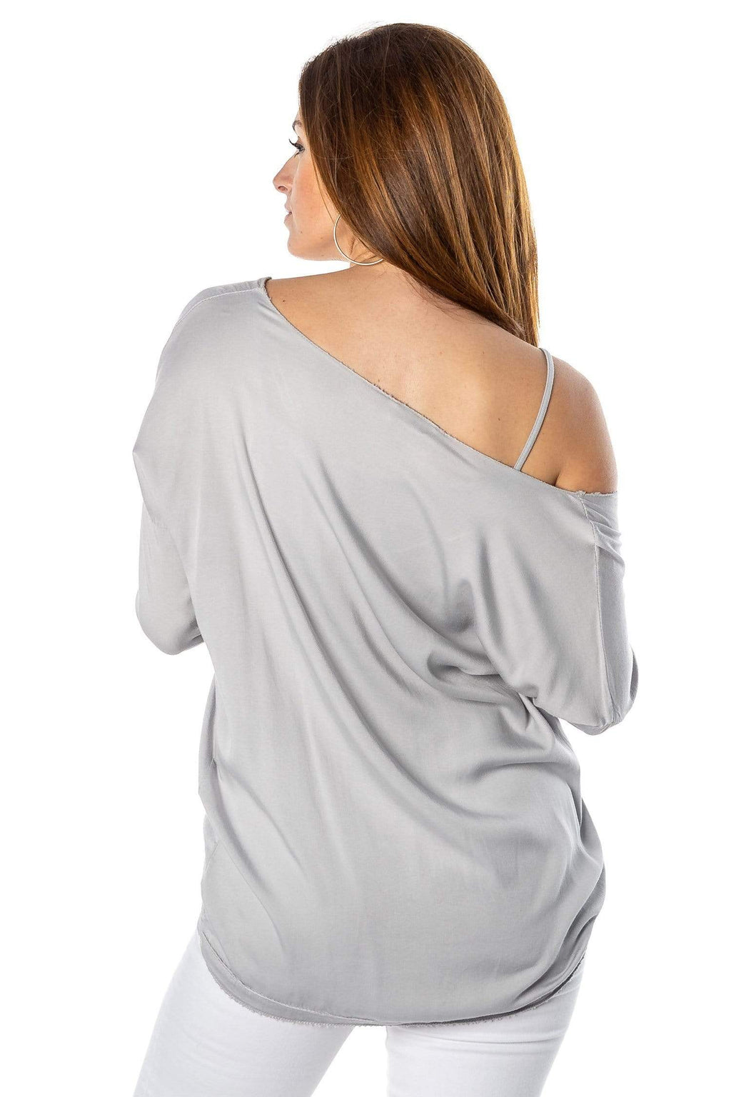 shop-sofia Alice Top Sofia Collections Italian Silk Linen Satin