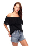 shop-sofia Tops BLACK Amber Top Sofia Collections Italian Silk Linen Satin