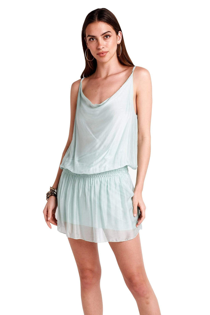 shop-sofia Ana Dress Sofia Collections Italian Silk Linen Satin