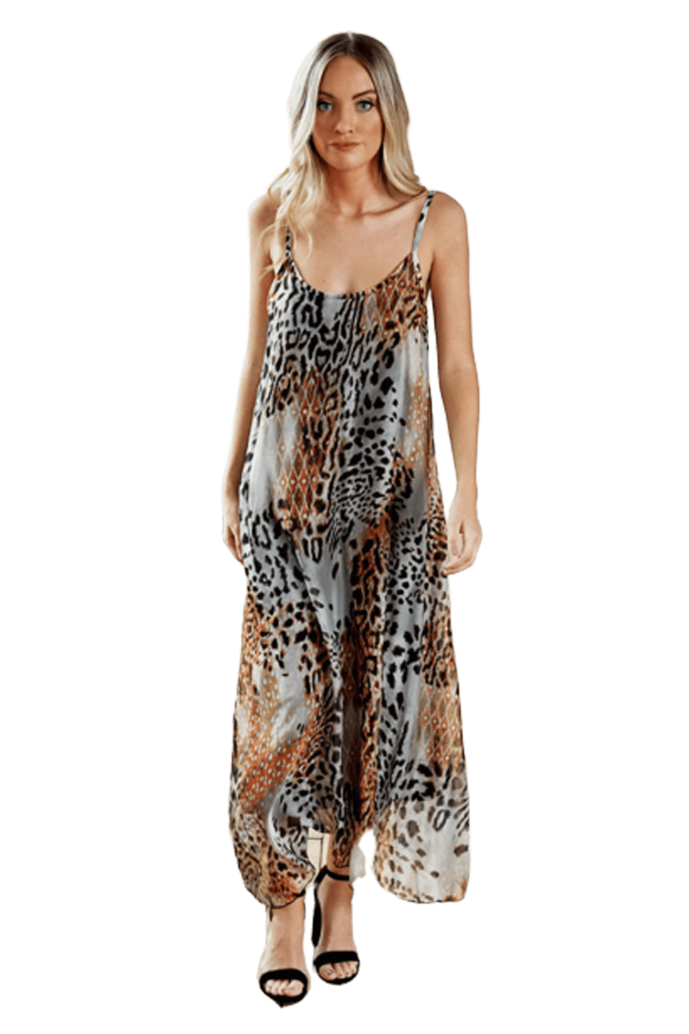 shop-sofia ANA TIGER MAXI DRESS Sofia Collections Italian Silk Linen Satin