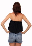 shop-sofia Tops BLACK Ana Top Sofia Collections Italian Silk Linen Satin