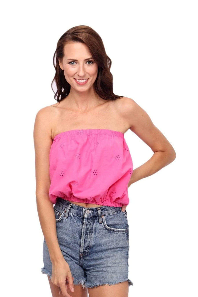 shop-sofia Tops fuchsia Ana Top Sofia Collections Italian Silk Linen Satin