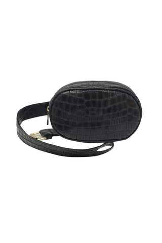 shop-sofia Andrea Black Emboss Belt Bag Sofia Collections Italian Silk Linen Satin
