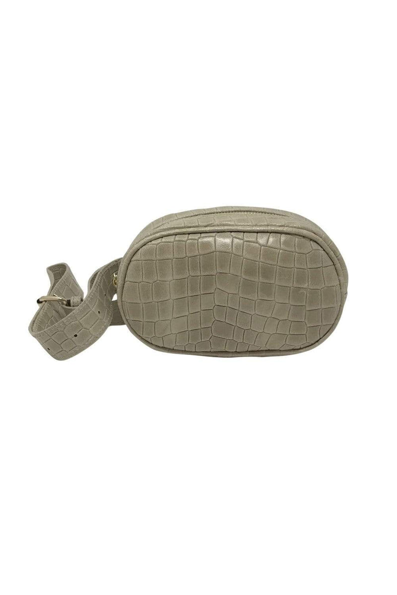 shop-sofia Andrea Champagne Emboss Belt Bag Sofia Collections Italian Silk Linen Satin