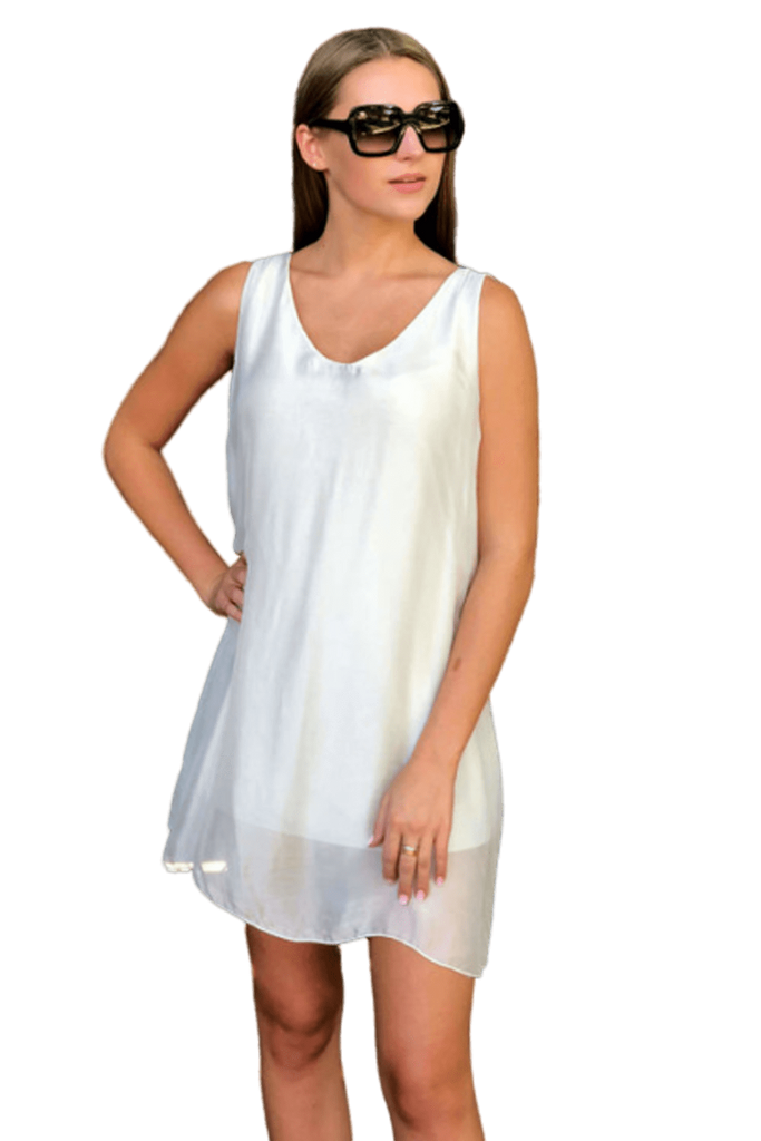 shop-sofia Andrea Champagne Tunic Sofia Collections Italian Silk Linen Satin