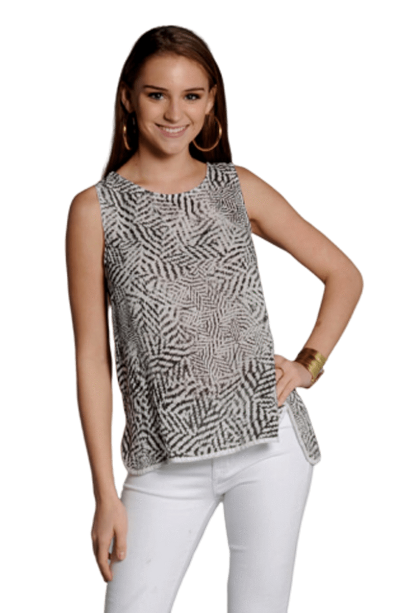 shop-sofia Andrea Deco Print Top Sofia Collections Italian Silk Linen Satin