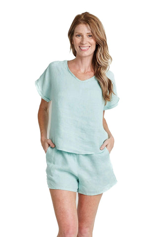 shop-sofia Andrea Linen Tee Sofia Collections Italian Silk Linen Satin