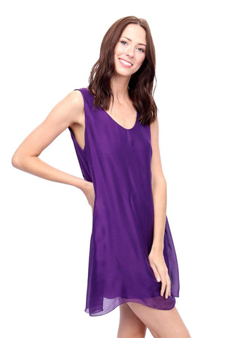 shop-sofia Andrea Purple Tunic Sofia Collections Italian Silk Linen Satin