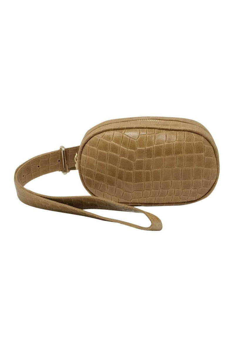 shop-sofia Andrea Sand Emboss Belt Bag Sofia Collections Italian Silk Linen Satin