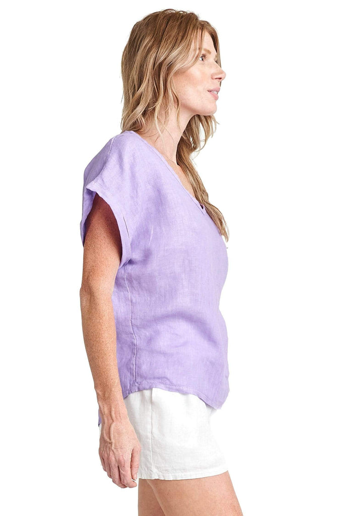 shop-sofia Andrea V Neck Linen tee Sofia Collections Italian Silk Linen Satin