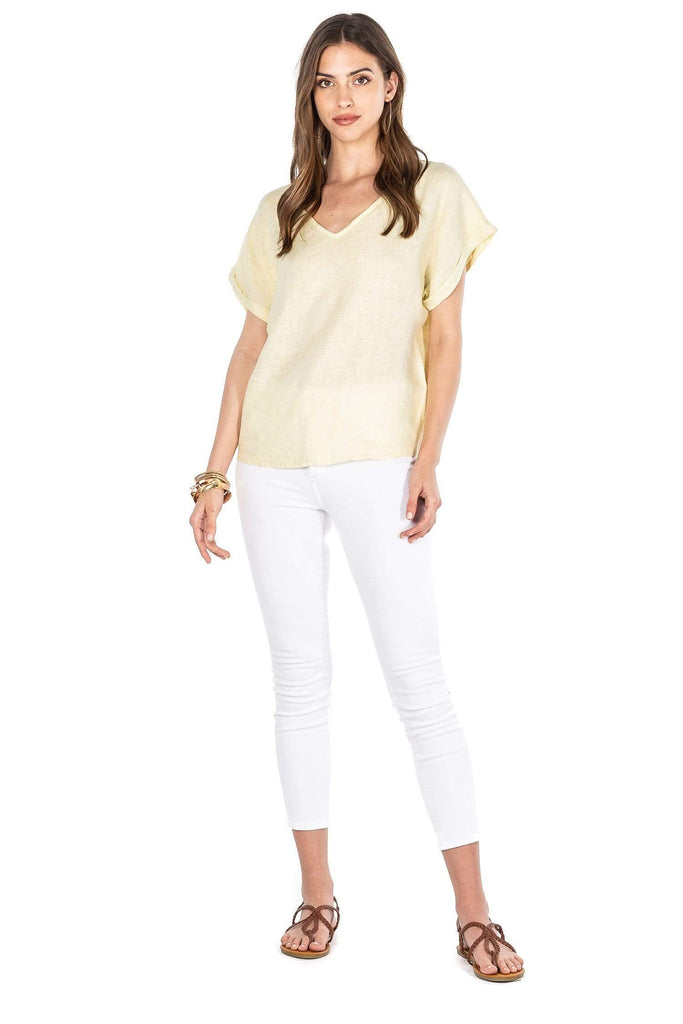 Andrea V Neck Linen tee - Sofia Collections affordable italian clothing brands